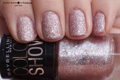 Maybelline Glitter Mania 'Pink Champagne' Review, Swatches & NOTD. The best glitter nail paint with a textured finish http://www.heartbowsmakeup.com/maybelline-colorshow-glitter-mania-nail-polish-pink-champagne-review-swatches/
