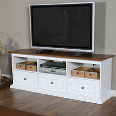 Have to have it. Belham Living Hampton TV Stand with Drawers - White/Oak - $299.98 @hayneedle.com