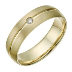 9ct Gold Men's Diamond Matt & Polished Groove Ring- H. Samuel the Jeweller