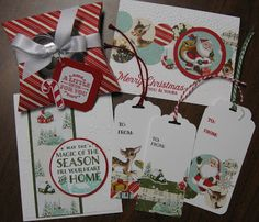 Stampin' on the Prairie: Home for Christmas designer series paper cards, tags and gift box.  Stampin' Up! Cozy Christmas stamp set, A little something and Six Sayings