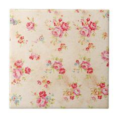 Vintage Shabby Chic Girly Pink Blue Roses Floral Tile