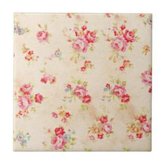 Vintage Shabby Chic Girly Pink Blue Roses Floral Tile