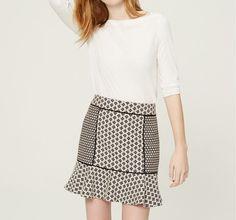 NWT $59 Ann Taylor Loft Petite Black White Mixed Print Jacquard Flippy Skirt  #AnnTaylorLOFT #Flare