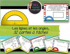 Voici un ensemble de 32 cartes à tâches, format 10,8cm par 14cm, sur les lignes et les angles. Les élèves auront à identifier les différents types de lignes et d'angles en plus de mesurer des angles à l'aide d'un rapporteur. L'ensemble comprend 32 cartes, une feuille à réponses et un corrigé. My Teacher, Task Cards, Voici, Angles, Store, Different Types Of Lines, Protractor, Cards