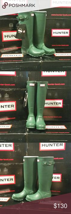 "Tall Hunter Boots Original Green Tall Hunter Boots Original  Matte finish  Color: Hunter Green  NWT/Never worn  Size 5 US   A classic finish perfects a puddle-proof rubber boot finished with a traction-gripping sole. Subtle tonal motifs circle the shaft, while an adjustable buckle at the side adds interest.   1"" heel height  16"" boot shaft height  (Please note: Outer box may have imperfections) Hunter Boots Shoes Winter & Rain Boots"