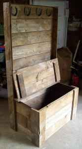 """Hall tree made from reclaimed 80+ year old ship lap barn wood.    Hall tree measures 6 feet tall by 3 feet wide. Storage is 2'10"""" wide, 1'8"""" front to back, and 1'9"""" deep. Features include 4 horseshoe coat hanger on top, and sturdy antique black 6"""" hinges on lid."""