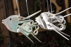 Angel Fish Silver Plated Fork Wind Chime by ShakyJayCreations
