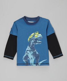 Blue Suede T-Rex Layered Tee by Kapital K