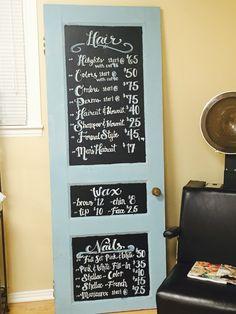 Menu board I made for my moms hair salon ❤️ #door #antique #chalk #paint #salon #decor