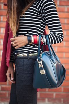 stripes + quilted trousers