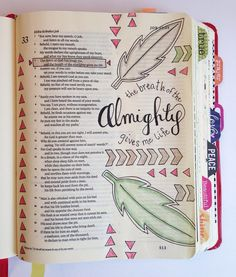 Illustrated Faith Bible journaling page from Magnolia Magenta -- sweet feathers and geometric illustrations. #illustratedfaith #biblejournaling #magnoliamagenta