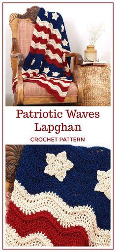 Patriotic Waves Lapghan Crochet Pattern Download: Crochet Old Glory American Flag Afghan PATTERN ONLY, Independance throw blanket, patriotic, veteran, gift, summer, memorial, labor day, 4th of july #crochet #crochetpattern #ad #diy #4thofjuly #summer #blanket