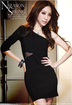 576109e3d8 Wholesale  Sold Out  Fashionable   Charming Single Shoulder Gauze Splice  Full Coverage Slim Dress----Black top dresses