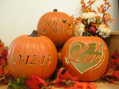 Custom Carved Pumpkins Fall Wedding Set on Etsy, $130.00