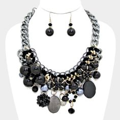 Black Tangled Chunky Pearl&Metallic Ball Necklace • Color : Black • Theme : Pearl • Necklace Size : 17″ + 3 1/2″ L • Decor Size : 3 1/2″ L • Earrings Size : 2 1/4″ L Jewelry Necklaces