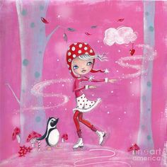 Skating In Pink Painting by Caroline Bonne-Muller - Skating In Pink Fine Art Prints and Posters for Sale