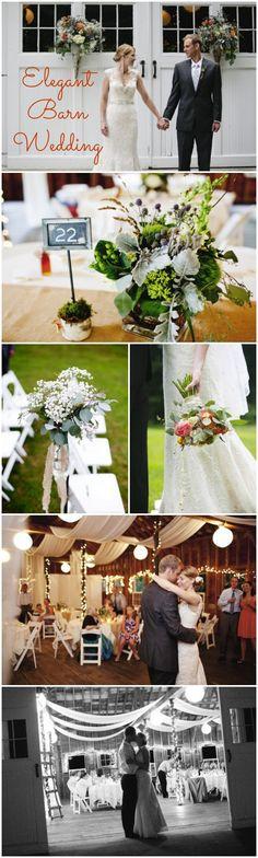 Elegant Barn Wedding, love the ceiling decorations