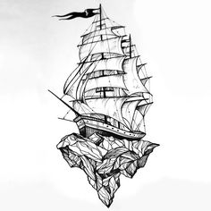 A great tattoo design of a ship standing on a rock. Creative idea for men. Style: Sketch. Color: Black. Tags: Best, Great