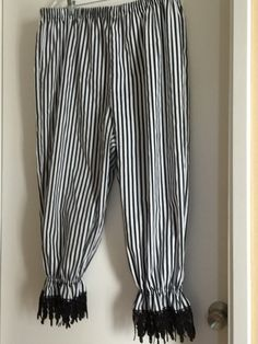 Avoid the chafe and burn with these comfy bloomers, perfect for Pirate Faires, SCA events and Renaissance Faires. Made from black and white