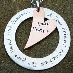 """""""A True Friend"""" Hand Stamped Necklace in Copper #friendship #bestfriends"""