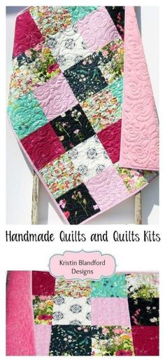 Quilt Kits to Make Yourself, Minky Patchwork Blanket for Baby Girl, Navy Blue Teal Mint Green Pink, Modern Quilt Patterns, Sewing Patterns Free, Pattern Sewing, Quilt Modernen, Diy Bebe, Patchwork Blanket, Personalised Blankets, Sewing Hacks, Sewing Tutorials