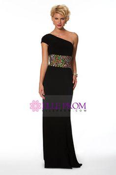 Prom Dresses 2014 One Shoulder Colorful Rhinestone Beaded Waistband Chiffon Black Sweep Train Loving Dresses Designer Formal Dresses, Strapless Dress Formal, Prom Dresses, Evening Gowns, One Shoulder, Chiffon, Train, Colorful, Black