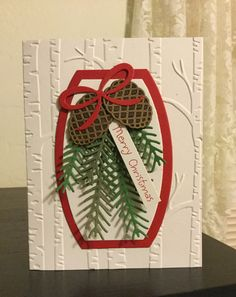 Stampin' Up! Pretty Pines Thinlits Dies Christmas Card.
