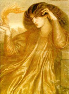 La Donna Della Fiamma - Dante Gabriel Rossetti 1870 Chalk on paper