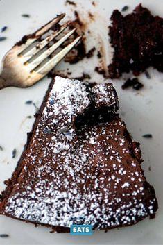 A flourless chocolate cake flavored with Earl Grey tea, lavender, and flaky sea salt.