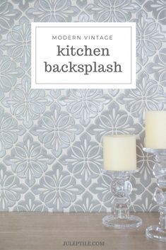 Add a modern vintage look to your kitchen with a handmade tile backsplash. Seen here is our Cobham pattern in Slate Gray. We've got tile to match any color scheme, so come take a look at some possible options for your kitchen backsplash. Kitchen Redo, Kitchen Tiles, Kitchen Flooring, Kitchen Design, Kitchen Cabinets, 1950s Kitchen, Kitchen Modern, Kitchen Styling, Unique Tile