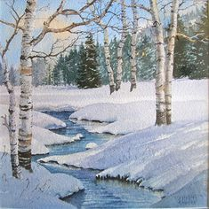 Winter Aspen by Ray Hunter Watercolor ~ 9 x 8