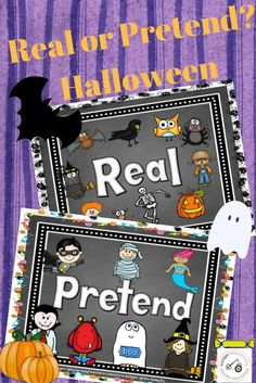 Real or Pretend?  Help your preschool and early elementary school children sort out what halloween images are real and which are pretend?
