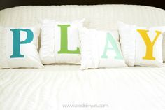 The 36th AVENUE | 25 Pillows and Tutorials. Cute playroom throw pillows!