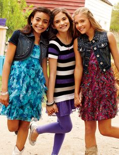 Striped Sweater Tunic With Lace Ruffle | Sweaters | Clothes | Shop Justice @Emily Schoenfeld (the one in the middle)