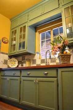 Olive Green Kitchen Cabinets low-cost cabinet makeovers | olive green kitchen, green kitchen