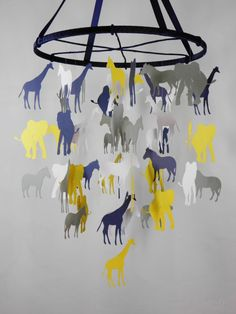 Going on A Safari Baby Paper Nursery Mobile in Yellow, Gray, Navy Blue, White