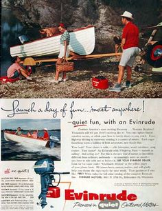 1955 Evinrude Outboard Motor original vintage advertisement. Photographed in vivid color with price list ranging from $145 for the Lightwin to $525 for the Electric Big Twin Aquasonic.