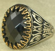 925 Sterling Silver Men's Ring with Onyx Stone Turkish Designed   eBay
