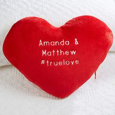 Personalized Romantic Red Plush Heart Pillow