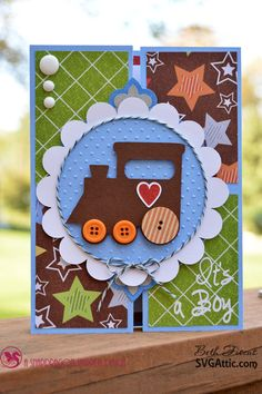 Beth's Beauties: Train Baby Card #svgattic #svg using Chocolate Sprinkles #trendytwine