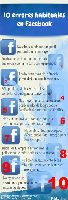 10 errores habituales en FaceBook #infografia