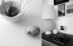 marble eggs and sideboard