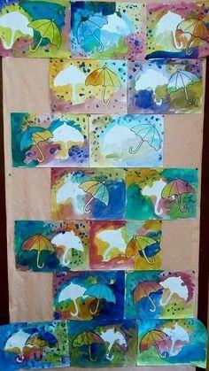 Arbeit Ideen No link… Water colour resist umbrellas - Modern Autumn Crafts, Autumn Art, Spring Crafts, Toddler Crafts, Crafts For Kids, Arte Elemental, Weather Art, Weather Crafts, Classe D'art