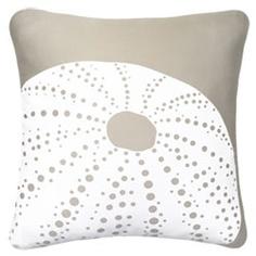 White Sea Urchin Organic Beach Decor Pillow