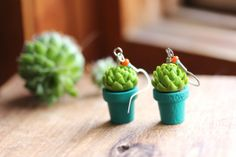 Potted Succulent Plant Earrings Hens and by bytherockandweed, $19.00