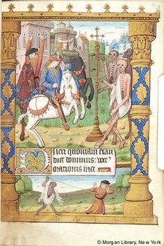 Enluminure - Rencontre des 3 morts et des 3 vifs - Livre d' heures - Rouen. 1500