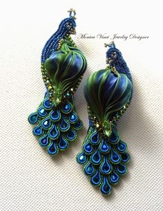 "shibori ribbon bead embroidery instructions | Peacock"" Earrings...Soutache, Bead Embroidery, Shibori Ribbon Silk ..."
