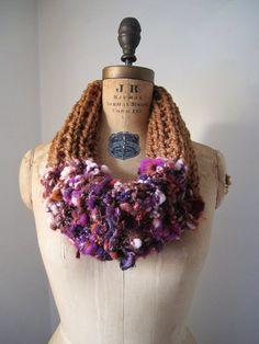 Bohemian knit cowl Brown. Purple. Rust. Fushia. $59