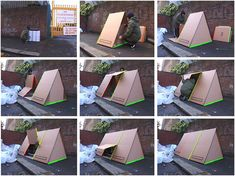 The shelter can be sponsored by humanitarian associations who can use it for their communication. The shelter can be used on natural catastrophes sites or outdoor events such as music festivals. Folding Architecture, Materiel Camping, Portable Shelter, Capsule Hotel, Shelter Design, Cardboard Design, Cardboard Furniture, Homeless Housing, Vintage Tools