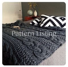 ****This Listing is for a PDF Pattern, not the actual blanket. Etsy will email this pattern to you so check your email.**** Once you purchase no refunds will be given! Curl up on a cold day with the cozy ASPEN Blanket by Go-Girl Knitting. This blanket will make a great accent in your home.  This blanket works up quickly with the use of US 50 circular Knitting Needles. It uses a simple cable stitch so it wont be hard for someone new to cables. The yarn is very soft and the blanket is giving…